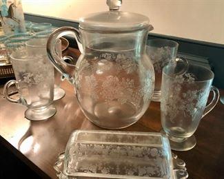 $50 - Depression Glass Pitcher and 4 Glass Set