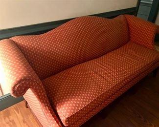 "$125 - Red Fabric Sofa, 75"" L"