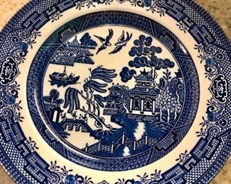 $75 - Wedgewood Blue Willow, 10 dinner plates, 10 salad plates, 8 dessert bowls, 2 soup bowls, 1 oval divided vegetable bowl