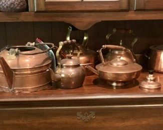 Variety of Copper Teapots, Molds etc.