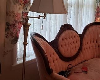 Victorian sofa, floor lamp