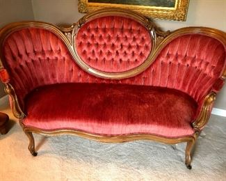 Antique Victorian Matching  love seat, Sofa and one arm chair.
