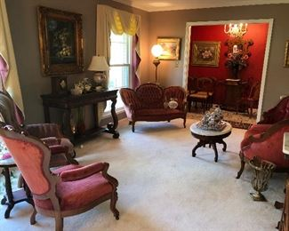Living room view of antiques
