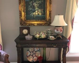 Antique empire mahogany table, server or hall table.
