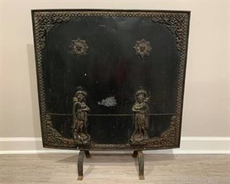 Antique Solid Metal Fireplace Screen