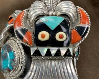 Jan's pick number ONE! Carlos White Eagle signed bracelet. He was an Apache artist who was known for selling to the Hollywood elite. His pieces are rarely found. Korean War veteran. Worked with Fred Peshlkai (uncle, godfather) and moved to Zuni, lived with Don Simplicio. Moved to Palm Springs made jewelry for such stars as Cher and Elvis Presley.