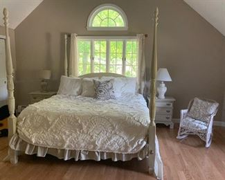 395$ , King Size Shabby Chic Four Poster Bed without the Mattress