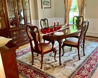1800,$ , Thomasville Dining Set with Lighted Hutch and Two Leafs for table and 6 newly upholstered  chairs
