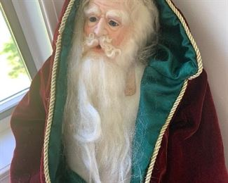 125$ Large Hand painted & hand made Porcelain Santa