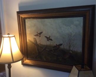 Oil painting of flying quail