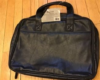 New black leather zippered briefcase with plaid interior HIGHLAND COLLECTION $20