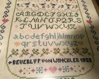 1923 antique stitched sampler $50