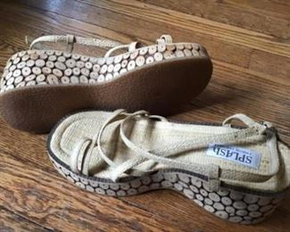 SPLASH Platform new shoes. Sole is made of small real wooden pieces. $20