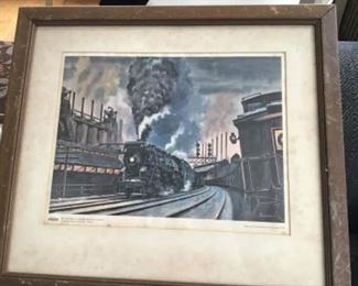 Antique framed locomotives picture $22