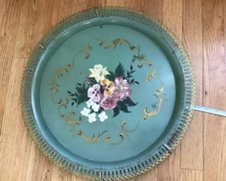 "Vintage metal 20"" hand painted metal tray $20"