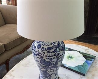 Chinese dragon blue and white pottery table lamp $55
