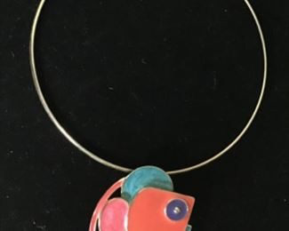 Mid century enamel painted choker necklace $20