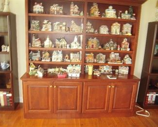 collection snow villages, nice display cabinet