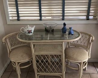 bar set table and 2 chairs, teapot, ducks, bowl