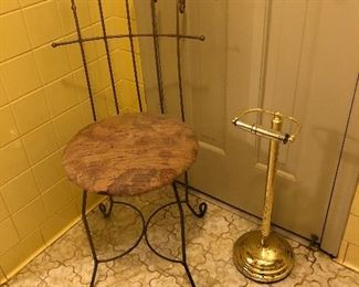 vanity chair, toilet paper holder