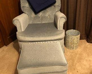 blue velvet chair with ottoman, trash can
