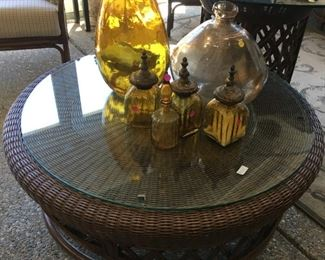 Large wicker coffee table w/glass top $150.00