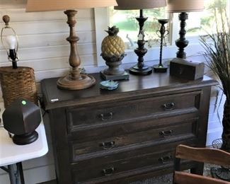3 drawer wood chest  $150. Assorted lamps