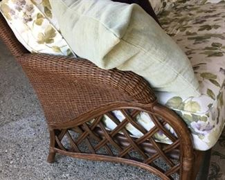 End shot of wicker couch