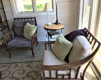 2 pair Bamboo armchairs with cushions $275 pair