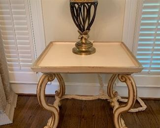 Pre-Sell Side Accent Table Off White with burnished gold trim. $175.00