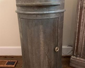 Pre-sell Custom made cylinder style nightstand with pull out tray and stone top.  We have a pair.  $450.00