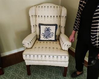 Pair of upholstered wingback chairs - $450 now - 50% OFF