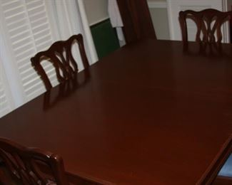 """Antique mahogany Chippendale Dining Tablew/six Chairs - w/pads and three 12"""" leaves - $1,850 now 50% OFF"""