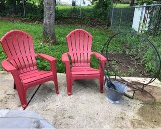 2 Adirondack Chairs  Log Rack