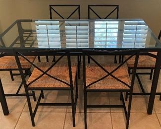 Glass Top Dining Table w 6 Chairs