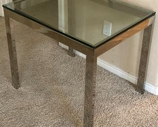 Chrome and Glass End Table