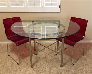 Chrome and Glass Dining Table, Red Molded Chairs