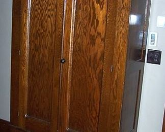 Oak wardrobe  -  80 in. H x 49 in. W x 21 in. D