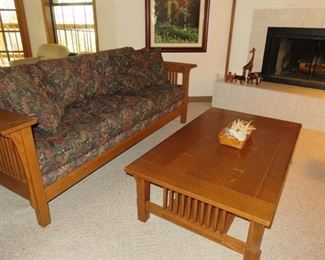 Bassett Furniture Mission Style Sofa, Love Seat, Coffee & End Table