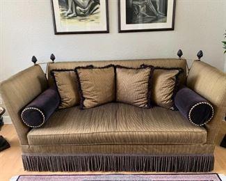 """Stanford """"Lansing Falls"""" Sofa:  Black/Brown/Gold Silky Fabric"""