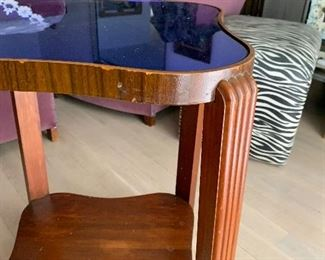Pair of Art Deco end tables with cobalt blue glass