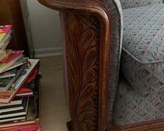 Vintage couch + 2 matching chairs. Carved wood front