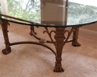 Glass top, claw foot coffee table - $325