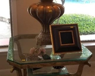 Glass top side table - $175                                                                           Lamp SOLD