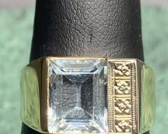 14KT YG Aquamarine and Diamonds Ring