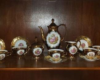 Vintage Bavaria 1930's. Gold Tea Set Courting Couple Pattern, $95.00
