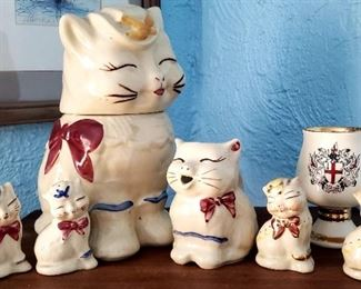 Shawnee Puss n Boots Cat cookie Jar 30.00 Salt and pepper Shakers With gold trim $ 1o.oo each For Appointment Please Call (760)662-7662  or Email tanya@crowncityestatesalebytanya.com