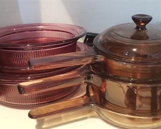 Vision Pyrex Pots and skillet with lids $30.00 For Appointment Please Call (760)662-7662  or Email tanya@crowncityestatesalebytanya.com