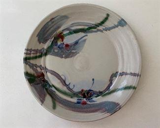 """c 14.5"""" Dia. Signed ceramic plate $45.00"""