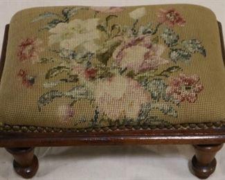 Lot# 2093 - Vintage square needlepoint stool